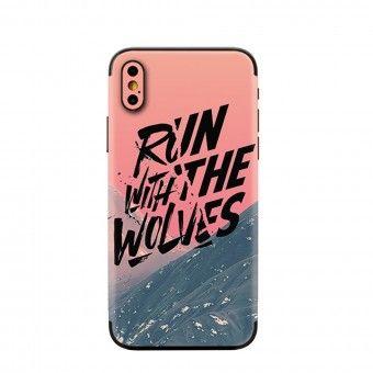 Proteção traseira 3D telemóvel run with the wolves